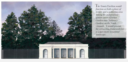 Elevation view of the proposed tennis pavilion. Image courtesy of the National Capital Planning Commission.