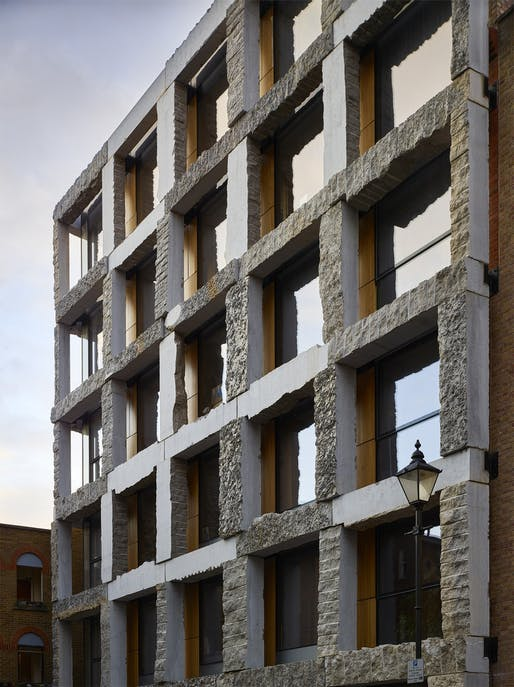 The rugged limestone exoskeleton of London's 15 Clerkenwell Close, designed by GROUPWORK, showed how stone can be an ancient and yet so controversial building material. Photo: Timothy Soar.