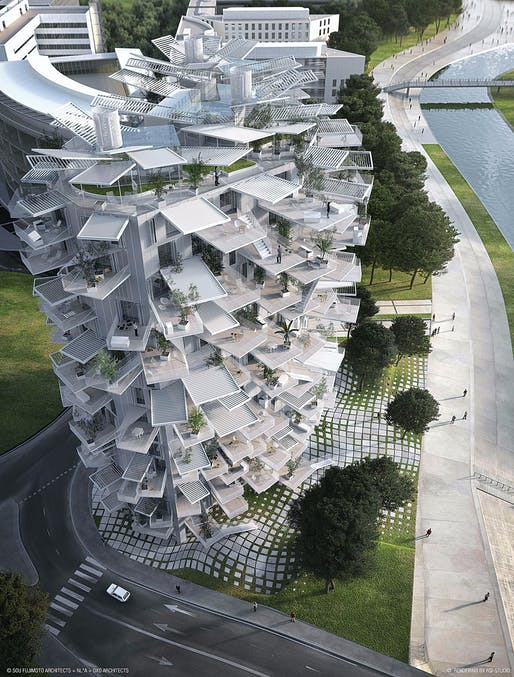 L'Arbre Blanc, a housing project in France by Sou Fujimoto Architects. Rendering courtesy of Sou Fujimoto Architects