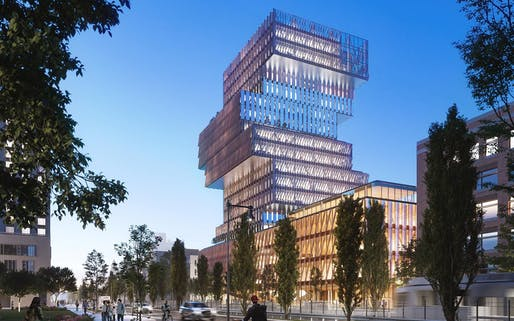 Boston University's Center for Computing and Data Sciences. Image courtesy of KPMB Architects