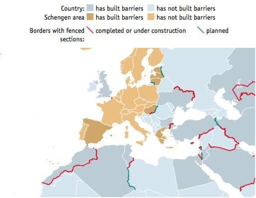 A world divided mapping border fences globally news archinect of the 40 countries that have built physical border walls since the fall of the berlin wall 30 of those happened after 911 and 15 this year alone gumiabroncs Choice Image