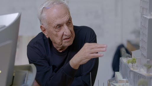 "Frank Gehry <a href=""https://archinect.com/news/article/150124322/watch-frank-gehry-talk-about-his-1-billion-the-grand-development-which-recently-broke-ground-in-la"">explaining his designs</a> for the $1-billion The Grand development in Downtown Los Angeles. Courtesy of Related."
