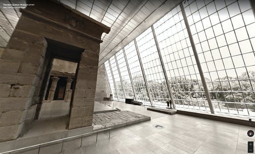 Google Street View-style interior view of the Metropolitan Museum of Art in New York, presented on the Google Arts & Culture platform. The brick-and-mortar version of the museum, as many other leading institutions around the world, is currently closed due to the virus threat.