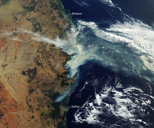 Satellite view of fires as they burned in November 2019. Image courtesy of European Space Agency.