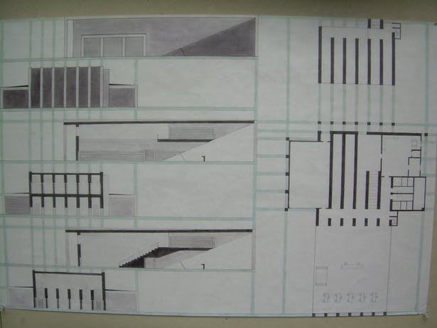 Elevations and Plans hand drawn