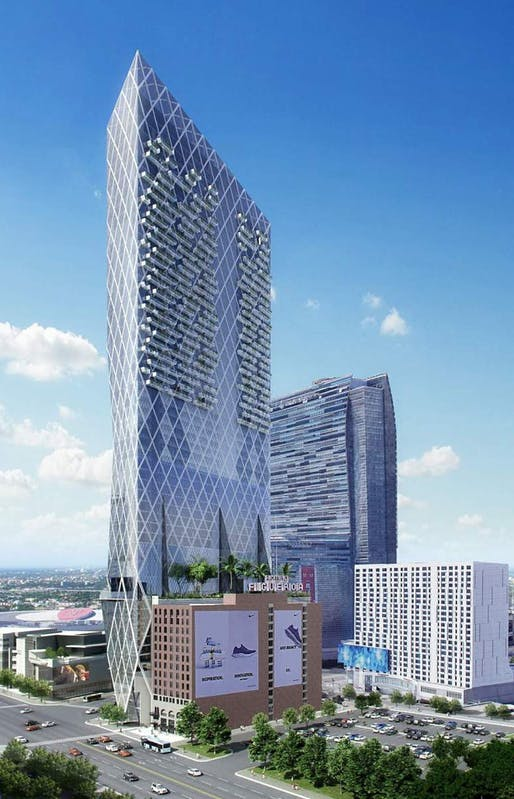 Rendering of the proposed Olympic Tower at the corner of Olympic Boulevard and Figueroa Street. Image: Nardi Associates.