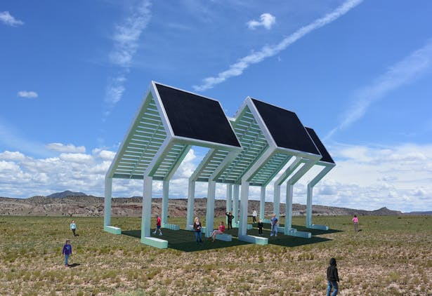 The Solar Shade Structure, a public gathering place that makes electricity from the sun for the local community.