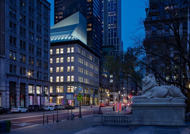 The Stavros Niarchos Foundation Library is a powerhouse of wisdom, and its street presence brings drama and magic to Manhattan, visibly expressed with its 'Wizard Hat'. Image copyright by John Bartelstone
