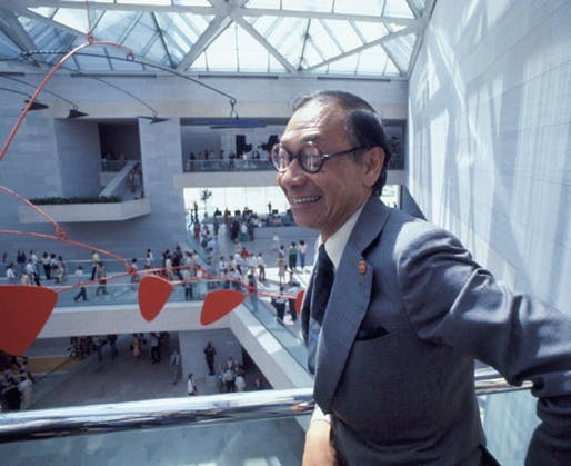 Architect I.M. Pei in the East Building of the National Gallery of Art on opening day, June 1, 1978. Photo © Dennis Brack/Black Star. National Gallery of Art, Washington, Gallery Archives. Image via nga.gov.