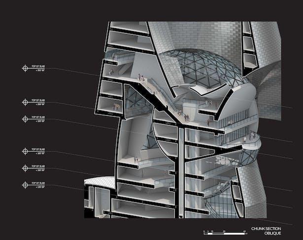 The Public City - arts center chunk section oblique