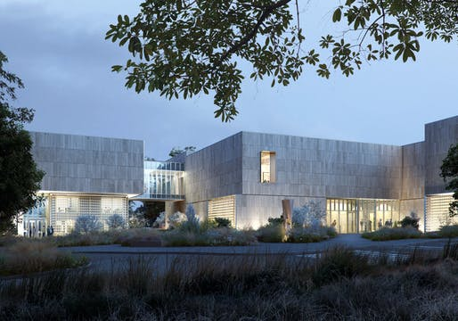 View of the main entry plaza of the new Palmer Museum of Art at Penn State. Architect: Allied Works. Rendering courtesy Of MIR