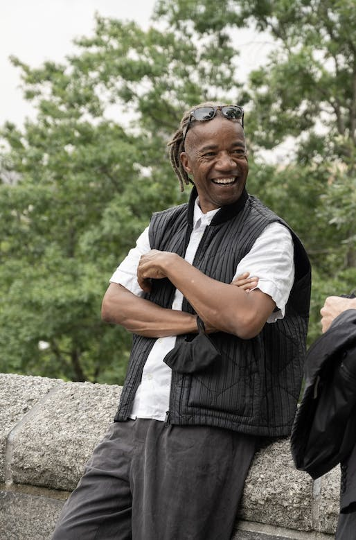 All smiles for ArchitecturalLeagueof New York 2021 President's Medal winner Walter Hood. Taken during the public celebration on July 21 at Marcus Garvey Park in Harlem. Image © Michelle Garcia/Courtesy of The Architectural League NY