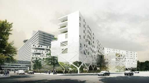 Street view of the proposed Copenhagen Rigshospital Expansion by DEVE Architecture, COWI A/S, WHITE Arkitekter A/S, LAND+ Landskabsarkitekter, Aps, and Lyngkilde A/S