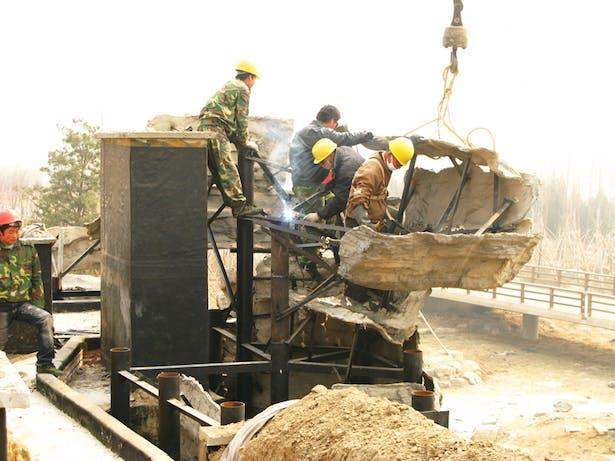 Construction Process of Rockery Mountain