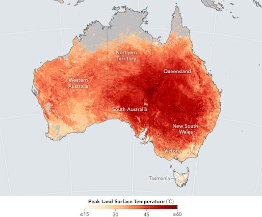 Shown: Map of Australia showing the extent of a devastating 2017 heatwave that struck the country. Image courtesy of NASA Earth Observatory.