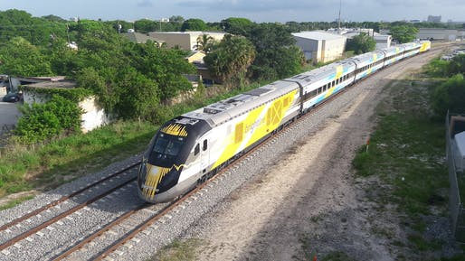 "Brightline high-speed trains could be shutteling passengers between Las Vegas and Southern California as early as 2023. Photo: BBT609/<a href=""https://www.flickr.com/photos/bbt609/40486405410/"">Flickr</a>"