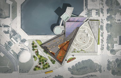 Rendering of the Rock & Roll Hall of Fame expansion plan. Image courtesy of Practice for Architecture and Urbanism (PAU).