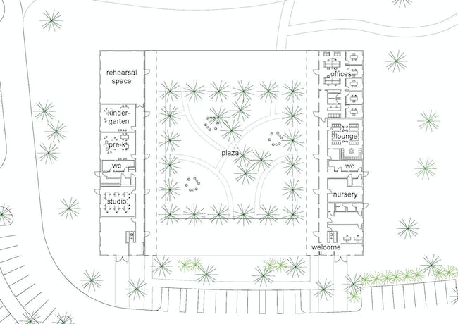 The barn plan. Image courtesy of Grace Farms and SANAA