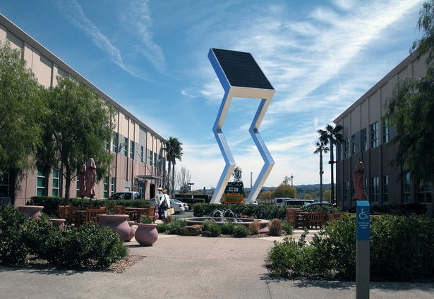 The Solar Electric Sculpture that makes electricity from the sun for the local community.