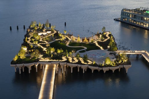 Aerial view of New York's new river park, Little Island. Photo: Michael Grimm.