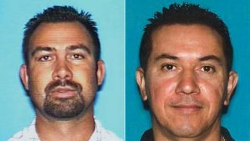 Driver's license photos of Ruben Gutierrez (left) and Wilfrido Rodriguez, released by the Los Angeles County Sheriff's Department.