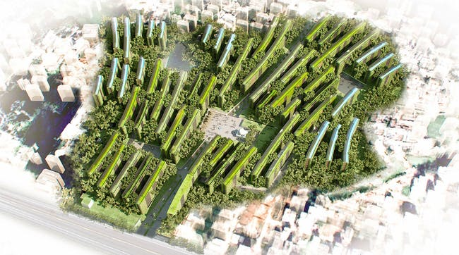Aerial view of the proposed Shobuj Pata Eco Community Development by JET Architecture, JCI Architects, and Terraplan Landscape Architects (Image: JET)