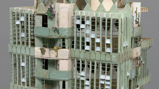 Detail of Wright's St. Mark's Tower model that underwent significant restoration by MoMA's conversation team. Courtesy of MoMA, Department of Imaging and Visual Services
