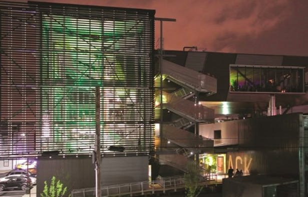 With transparency the goal, metal screening makes the Manufacturing Atrium clearly visible, especially at night.