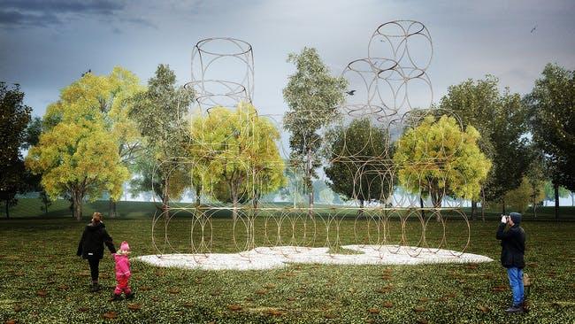 A rendering of Yona Friedman's Summer Pavilion. Via Serpentine Galleries