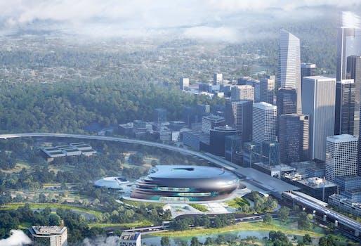 Urban context of Shenzhen Science & Technology Museum © Zaha Hadid Architects. Visualization by Slashcube