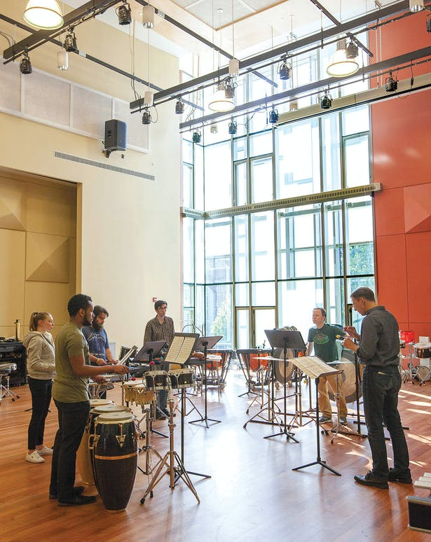 The towering window in the Instrument Rehearsal Room offers views to the campus green. Photo: Brooklyn College