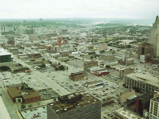 Plenty of surface parking lots in this historical photo of the Kansas City Power & Light District.