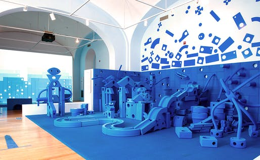 'Play Work Build' at the National Building Museum in Washington DC, designed by the Rockwell Group.