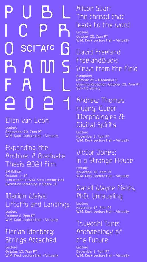 Lecture poster courtesy of SCI-Arc