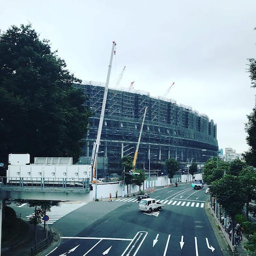 "Construction progress of the New National Stadium Japan in August 2018. Photo by e8tov/<a href=""https://www.instagram.com/p/BmsQEVjAYqA/?taken-at=236070801"">Instagram</a>"