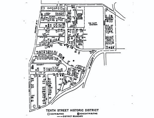 Map showing the boundaries and contributing structures that make up the Tenth Street historic district in Dallas, Texas. Image courtesy of the City of Dallas.