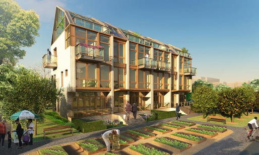 Rendering of proposed infill housing for the BIG Green Homestead project. Rendering courtesy of Terreform.