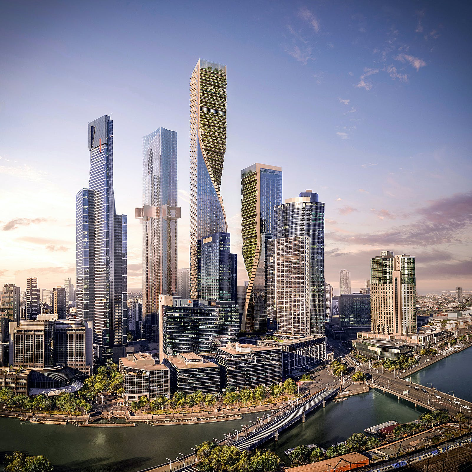 unstudio proposes green spine towers for the beulah southbank