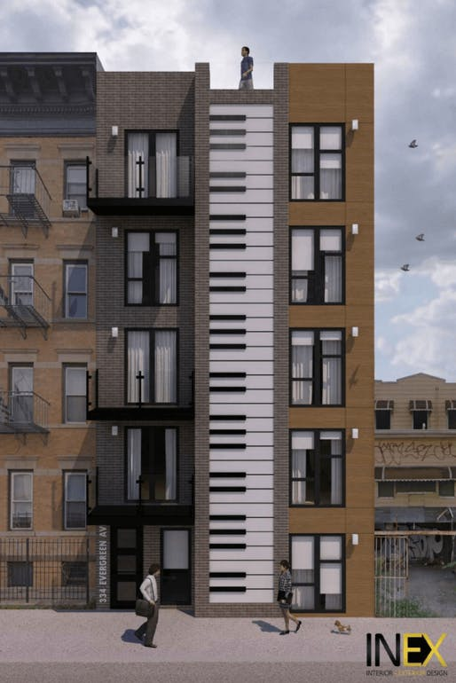 A striking keyboard facade adorns this upcoming Bushwick apartment building. Rendering by INEX Design.
