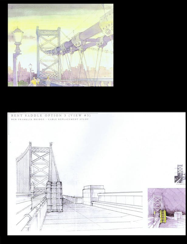 Ben Franklin Bridge - security enclosure at the walkway level - day and night view