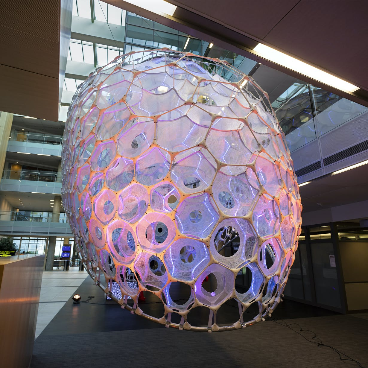 Ada – a structure inside Microsoft Research's building responds to its environment