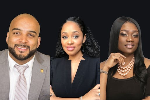 (L-R) Jason Pugh 2021-2022 President, Pascale Sablan 2023-2024 President-Elect, Tiffany Brown NOMA Executive Director. Images courtesy of NOMA/Adjaye Associates/Q11