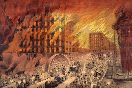 Currier & Ives lithograph depicting the dramatic scenes of the Great Chicago Fire from October 8–10, 1871. Source: Chicago Historical Society (ICHi-23436).