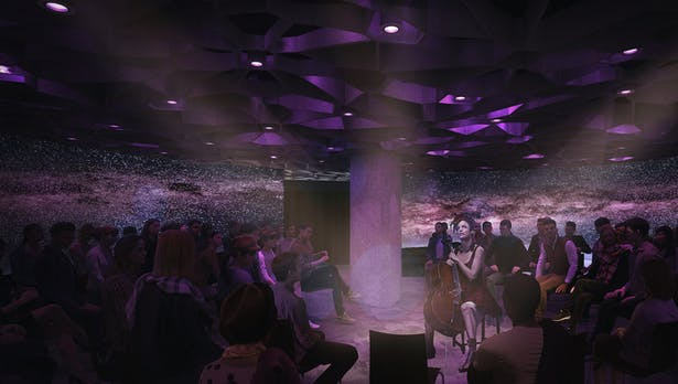 Architectural rendering of an intimate performance style set-up showcasing lighting and projection panel displays that encompass the audience, immersing them in the performance.