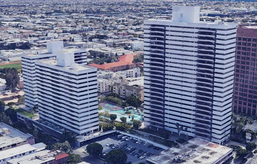 One of the buildings in the three-towered Barrington Plaza complex in Los Angeles caught fire. Image courtesy of Google Earth.