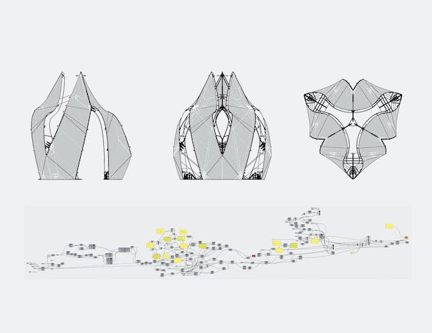 Elevations and Plan of Pavilion + Grasshopper Definition