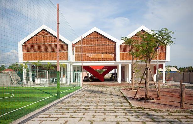 Frontage of school design is based on a village of stilt houses