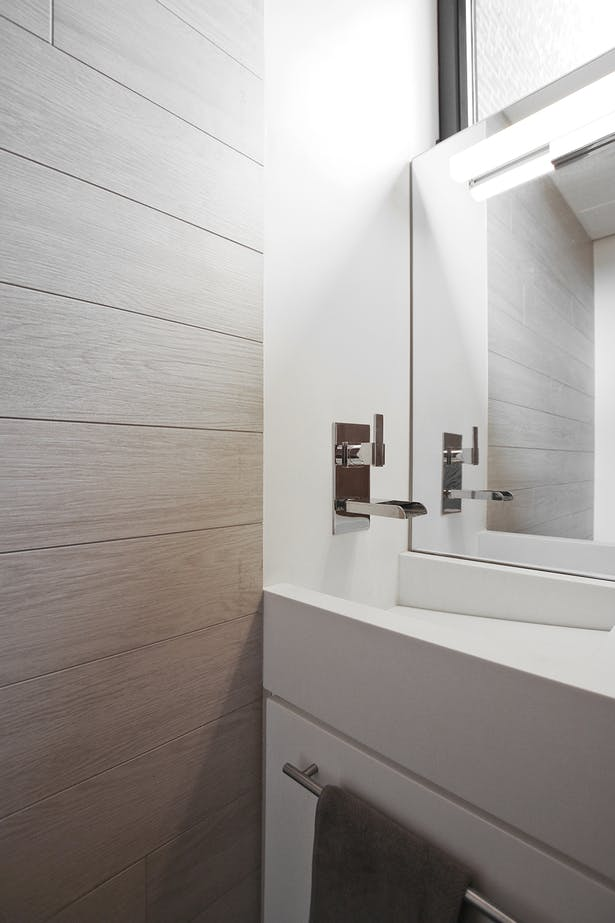 Powder Room with Custom Corian Sink