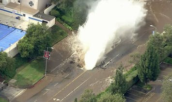 Water Main Breaks on Sunset Blvd, Floods UCLA