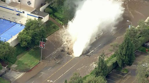 The broken water main created a large sinkhole in front of Marymount High School on Sunset Blvd. Credit: KTLA
